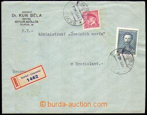 87093 - 1938 firemní R dopis s DR SEVLUŠ 9.VIII.38, vyfr. zn. Pof.