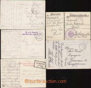 87129 - 1916 sestava 5ks barevných pohlednic, vše přepraveno FP,