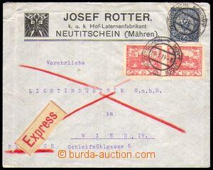 87143 - 1919 Ex-dopis do Vídně, smíšená frankatura rak. známky Mi.19