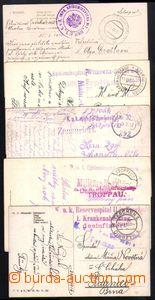 87146 - 1915-18 sestava 5 kusů pohlednic odeslaných ze zdravotnick
