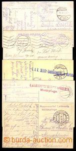 87148 - 1914-17 sestava 5 kusů pohlednic, odesláno ze zdravotnick�