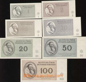 87172 - 1943 KT TEREZÍN  kompletní sada 7ks bankovek KT Terezín 1
