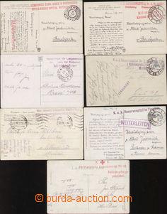 87180 - 1915-17 sestava 7 kusů pohlednic odeslaných ze zdravotnick