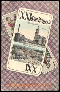 87196 - 1907 UNIČOV (Mähr. Neustadt) - barevná koláž, karty taroky s