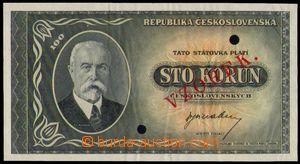 87244 - 1945 ČSR II. státovka 100Kčs, ANULÁT, bez uvedení série, 2x