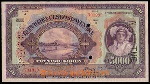 87252 - 1920 ČSR I.  státovka 5000Kč, série A, bankovní vzor, perfor
