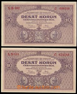 87254 - 1927 ČSR I.  2x bankovka 10Kč, série B a N, kvalita N