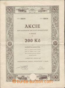 87255 - 1926 ČSR I.  akcie Autodopravní a.s.  v  Praze na 200Kč, čás