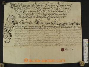 87486 - 1744 MILITARIA  kaligraficky psaný vojenský příkaz, pevnost