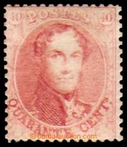 87588 - 1865 Mi.13C, Král Leopold I. 40C karmínová, ŘZ 14½,