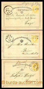 87652 - 1872-76 sestava 3ks dopisnic žluťásek s raz. VLP, řádko