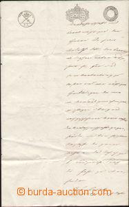 87671 - 1844 RAKOUSKO, BAVORSKO  listina s kolky emise 1840, kolky v