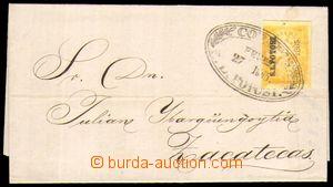 87800 - 1865 skládaný dopis vyfr. zn. 2R  žlutá, Mi.21 s přetiskem S