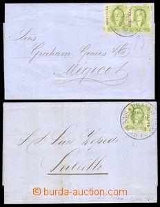 87803 - 1857-58 2x skládaný dopis vyfr. zn. 2R zelená, Mi.3, 1x s př