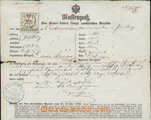 87972 - 1856 ZNOJMO  zbrojní pas, kolek emise 1854, úřední razí