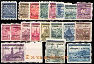 88227 - 1939 Pof.1-19, Přetisková emise, kat. 1100Kč, nezkoušeno