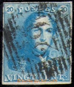 88304 - 1849 Mi.2b, 20c mléčně modrá, I.emise, velmi dobrý stř