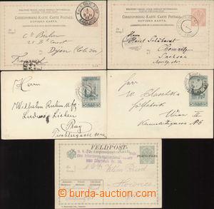 88326 - 1908-14 sestava 5 kusů celinových dopisnic FP, použité,