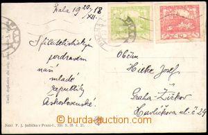 88475 - 1918 pohlednice vyfr. zn. Pof.4, 5, SR PRAHA 1/ 20.XII.18, z