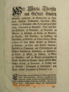 88546 - 1759 RAKOUSKO  Marie Terezie, patent dědické daně a výklad k