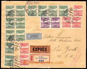 88548 - 1939 R+Ex+Let-dopis do USA s bohatou frankaturou čs. letecký