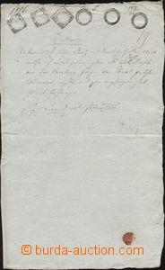 88571 - 1816 RAKOUSKO / LINZ  kvitance, listina, 6 kolků emise 1803,