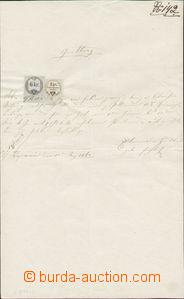 88702 - 1860 RAKOUSKO  listina, kolky, smíšená frankatura, kat. Koř.