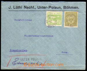 88773 - 1919 firemní R-dopis, smíšená frankatura zn. rakouská 40h Zn