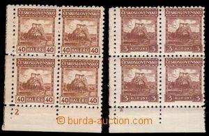 88890 - 1926 Pof.218, Malé krajinky, 4-blok s DČ2, Pof.224 4-blok