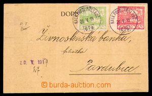 89758 - 1919 firemní lístek vyfr. zn. Pof.3, 5, II.TO, 2x otisk rako