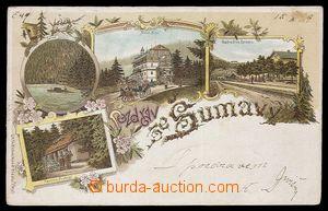 90812 - 1899 ŠUMAVA - barevná litografická koláž, 4-záběrová (Černé