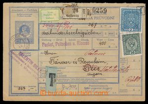 91782 - 1918 dobírková balíková průvodka, celý 1. díl, DR  METYLOVIC