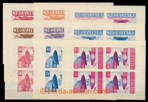 91898 - 1949 Exilové vydání v Kanadě, sestava 9ks různých 4-bloků k