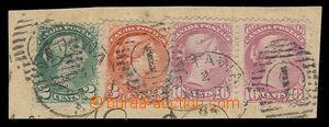 92303 - 1884 Mi.10a 2x, 26, 28, tříbarevná frankatura na malém výstř