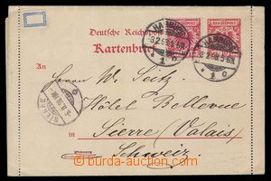 92585 - 1898 Mi.K2, uprated by. letter-card to Switzerland, CDS HAMB