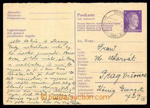 92932 - 1945 německá celina Mi.P310F, Hitler 6Pf, do Prahy, DR BRINS