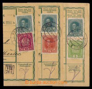 92967 - 1918 1. den ČSR, sestava 3ks ústřižků průvodek, DR KOŠÍŘE 28