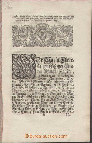 93398 - 1754 mincovní cirkulář, saské mince, 4 listy, formát vyšší A