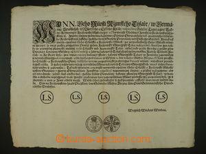 93405 - 1722 mincovní cirkulář (švédský tolar), český text, přeložen