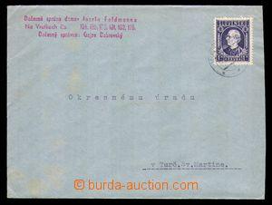 93684 - 1942 KONFISKACE ŽIDOVSKÉHO MAJETKU  úřední dopis vyfr. zn. A
