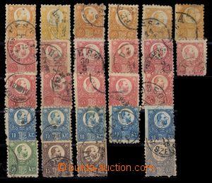 93875 - 1871 Mi.8-13, František Josef, sestava 26ks známek, různý st