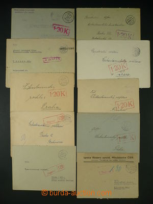 94005 - 1945 comp. 10 pcs of letters without franking, burdened with