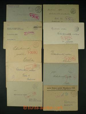 94005 - 1945 sestava 10ks dopisů bez frankatury, zatíženo doplatným,