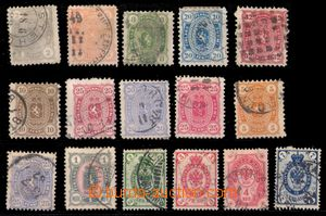 94050 - 1875-91 selection of 16 pcs of stamps, Mi.14 thin place