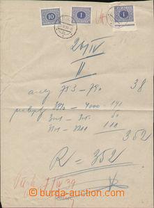 94171 - 1939 list z knihy zásilek vyfr. čsl. zn. Pof.DL62 2x, DL65,