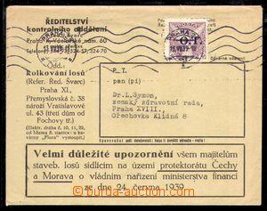 94232 - 1939 obchodní tiskovina vyfr. čsl. známkou Pof.OT1, soukromá