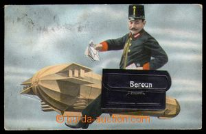 94272 - 1910 BEROUN - kombinovaná technika, vzducholoď, pošťák a bra