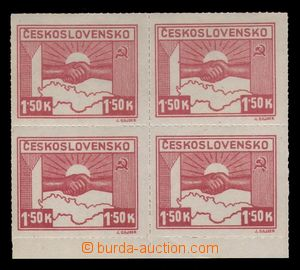 94283 - 1945 Pof.353, Košice-issue, value 1,50 Koruna, block of four