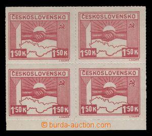 94283 - 1945 Pof.353, Košické vydání, hodnota 1,50K, 4-blok s dolním