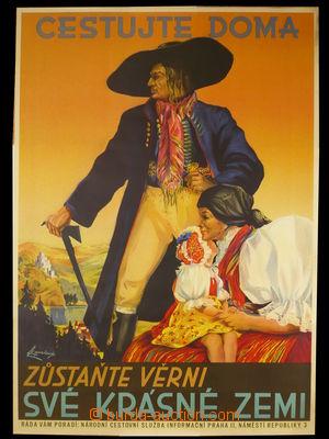 94311 - 1935 CESTOVNÍ RUCH  reklamní plakát, cestovní služba Praha,